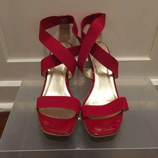 Red CHRISSIE wedges