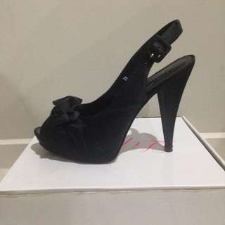 Lipstik Black Satin Pumps - Size 7.5