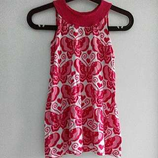 Pink Butterfly Dress Top