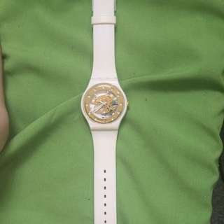 Swatch Gold And White Watch