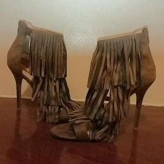 Brown/Camel Suede Fringe Heels From Wilddiva.