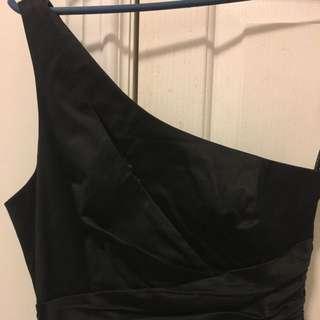 One Shoulder Black Dress, Size 8 - $15