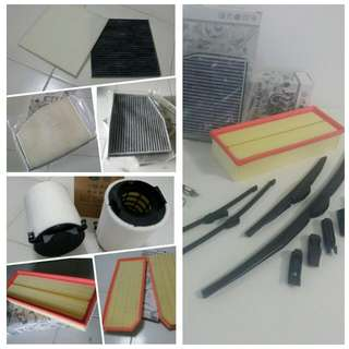 Audi & Volkswagen engine air Filter, Aircon cabin Filter, Front Rear Wipers, visor, armrest console box, bumper & boot lip