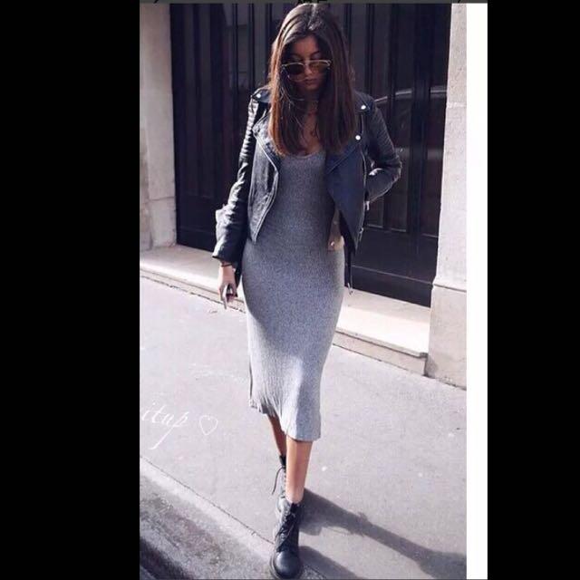 降價✨歐美灰色貼身背心 長裙 洋裝