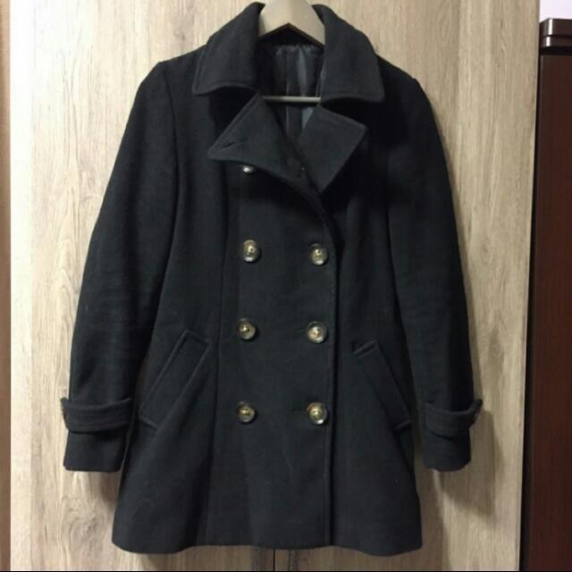 黑色毛呢大衣外套