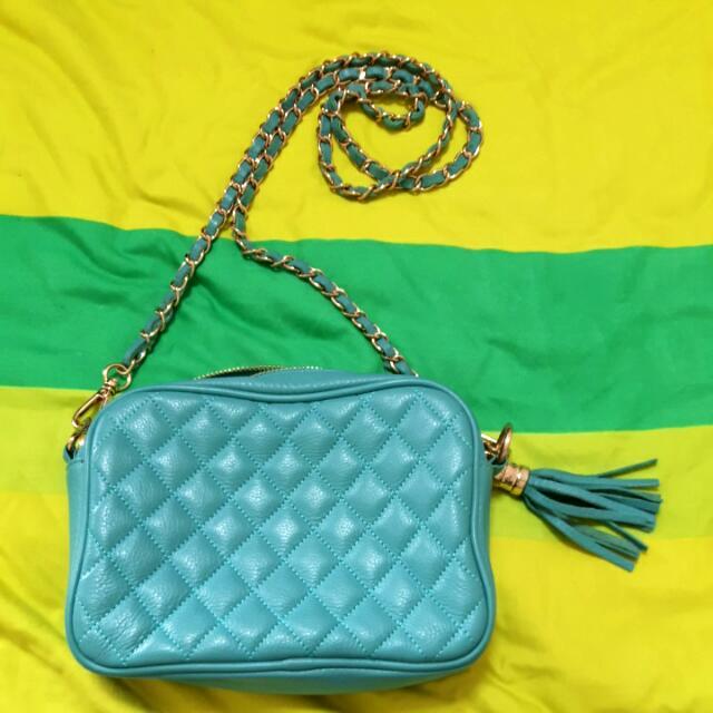 蒂芬妮藍菱格紋真皮側背包包