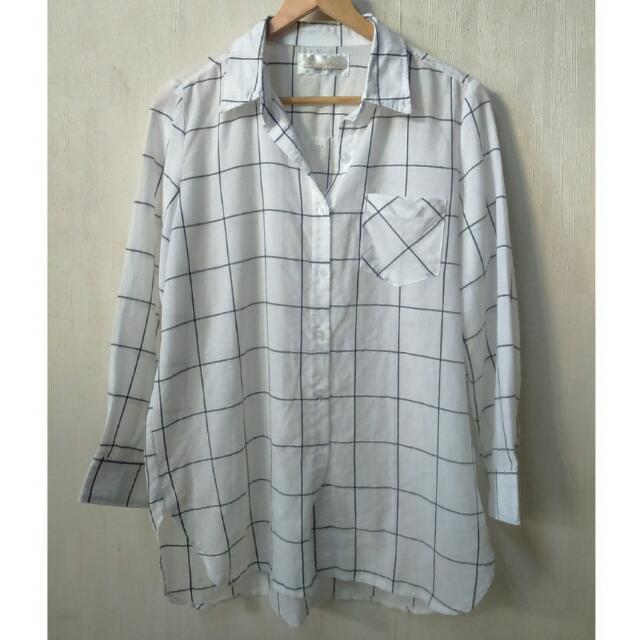 🍎大格紋 白襯衫 白底黑紋 薄外套