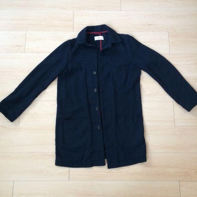 日本購回 古著 大衣 羊毛 深藍