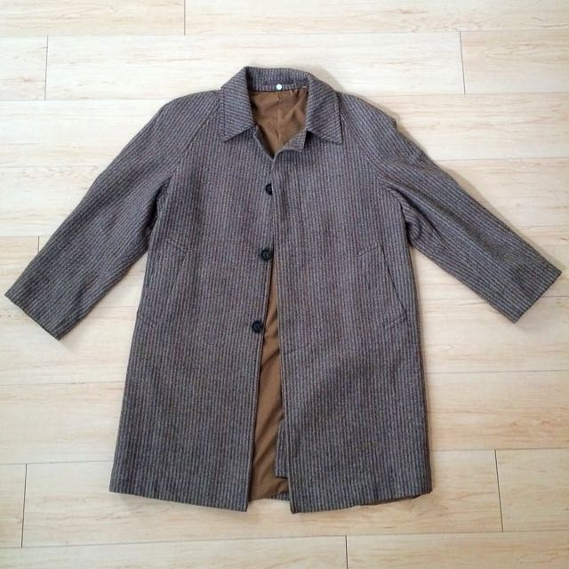 購於 降❗️❗️日本 古著 大衣 人字紋 長版 COAT 風衣