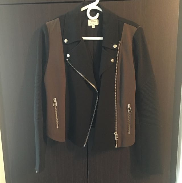 Aritzia - Wilfred - Black/Olive Moto Jacket