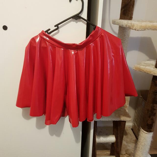 Black Milk Red PVC Skirt Size S