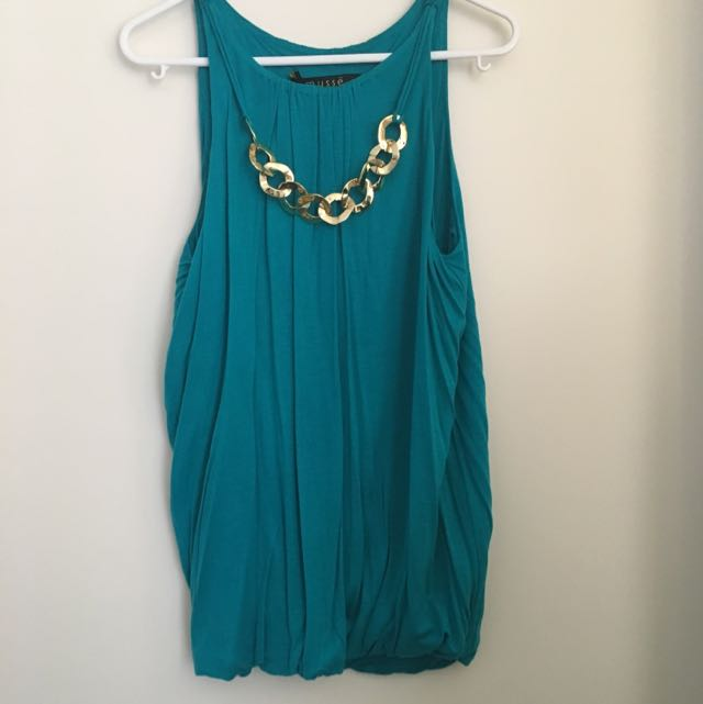 Blue-green Blouse With Gold Chain