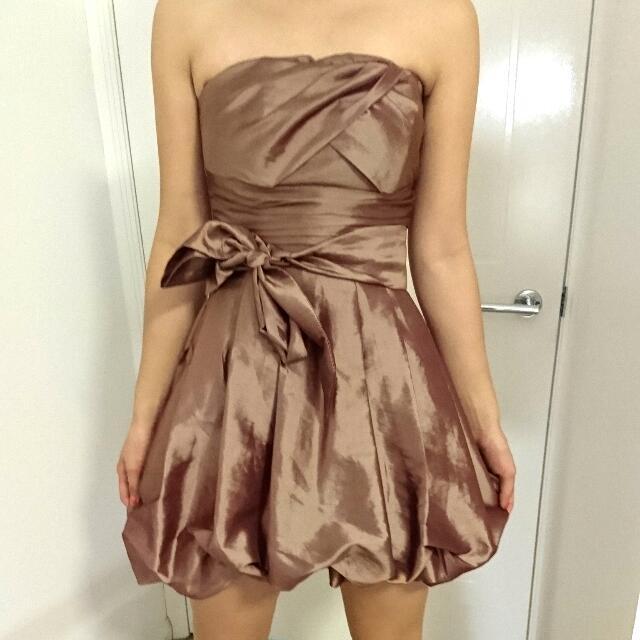 Bronze Strapless Cocktail Dress - Size 6