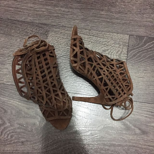 Brown Suede Cutout Heels