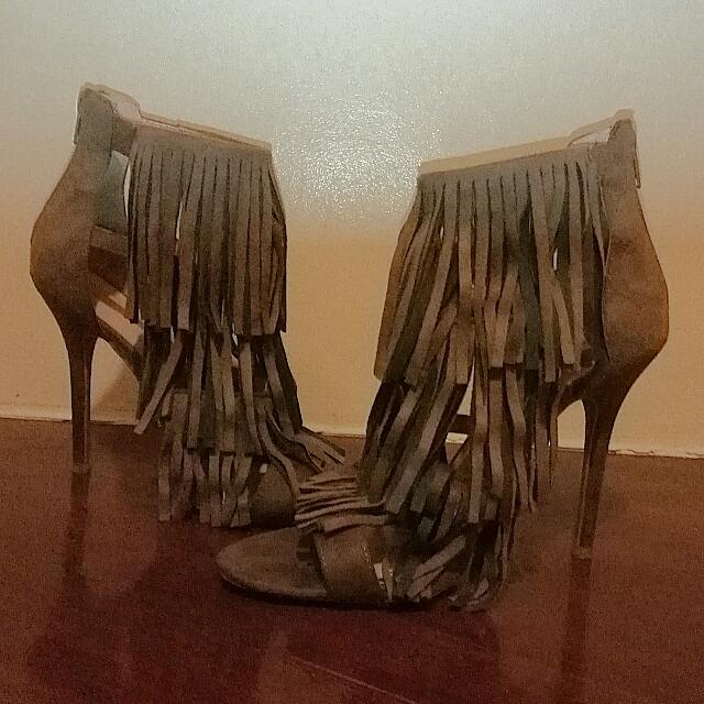 Brown/Camel Suede Fringe Heels From Wilddiva.