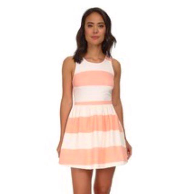 Brylee Stripes Skater Dress W/ Bow Back