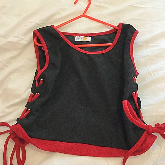 Cheep Black And Red Laced Top