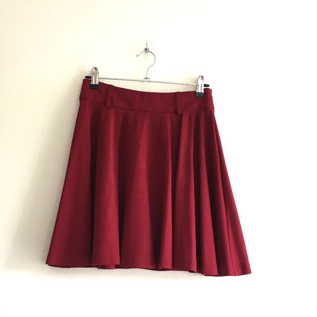 💙Cherry Red Mini Skater Skirt By Minkpink Size XS