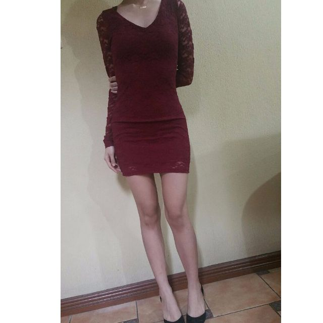 Repriced Cotton On Sexy Maroon Lace Dress