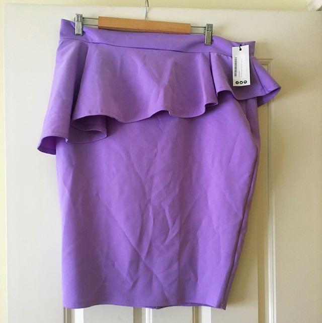 Cute Purple Assumetric Peplum Skirt - Size 22-24 - Plus Size