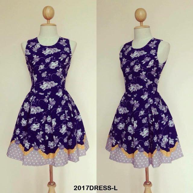 Cute Purple Polka Dot Floral Dress
