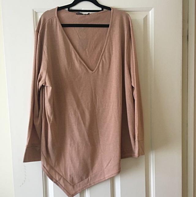 Dark Beige Thin Sweater Assymetric Size 18 Plus Size