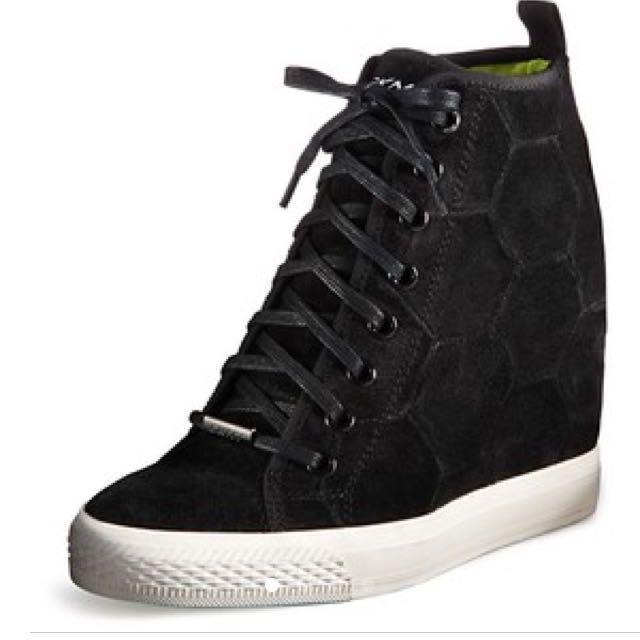 832bfcb168cd DKNY Suede Black Wedge Sneakers
