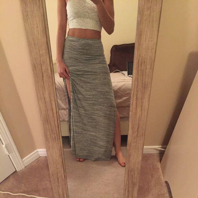 Grey Blend Maxi Skirt