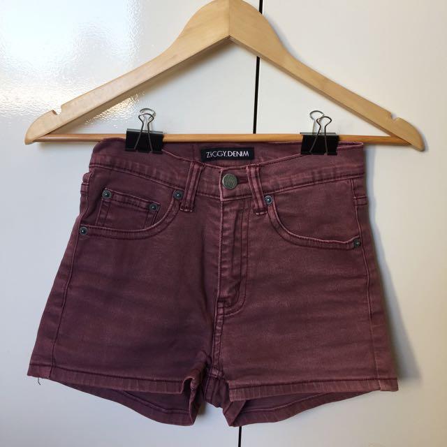 High Waisted Red Denim Shorts
