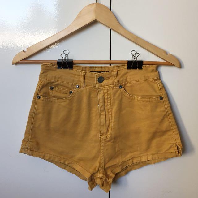 High Waisted Yellow Denim Shorts