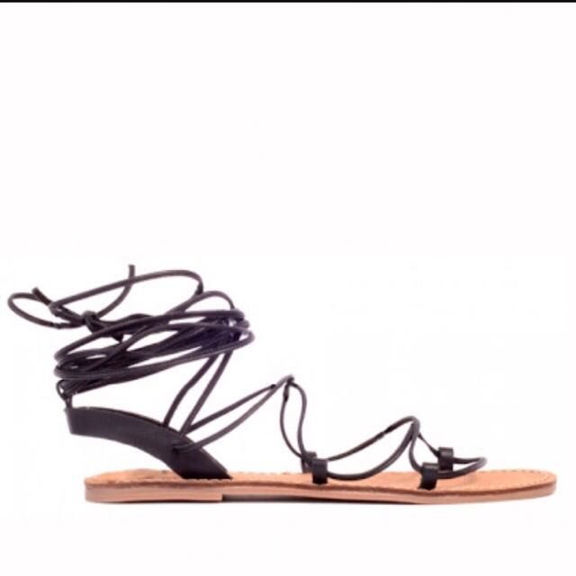 Lace Up Black Sandals Wanted Shoes
