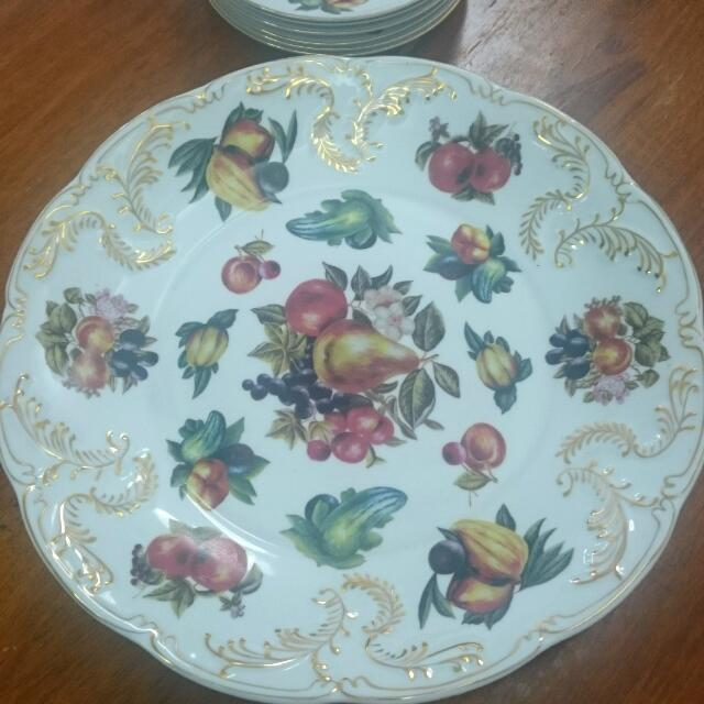 Large Plate With 6 Dessert Plates In Fruit Motif