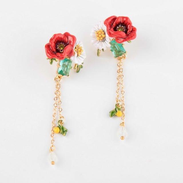 Les Nereides Daisy Poppy and Chains Stud Dangle Rose Flower Earrings