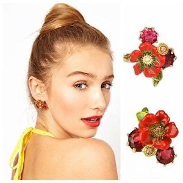 Les Nereides Paris Romantic Love Flower Colorful Stones Stud Earrings