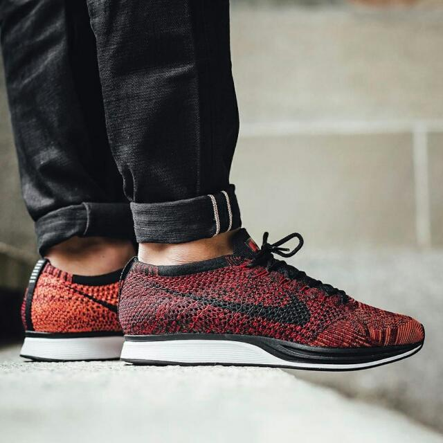 buy online e482b 366a5 ... promo code for nike flyknit racer university red black bright mango  2d5c5 054aa