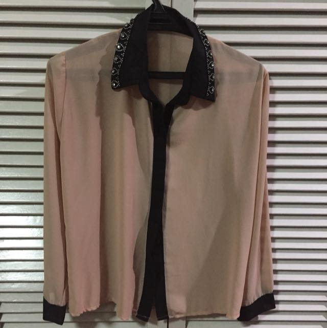 Nude Sheer Polo with Studded Collar Detail