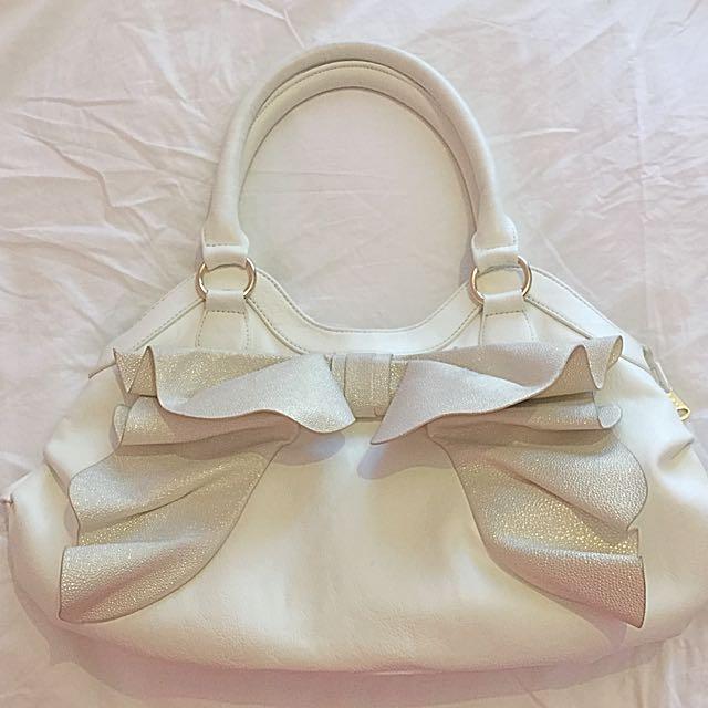 Ooh La La Bow Tie White Handbag