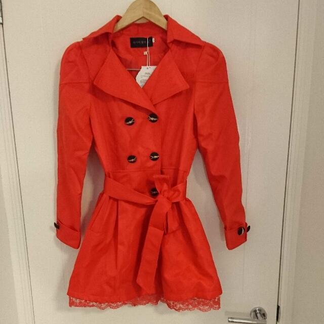 Orange Trench Coat - Size 8-10