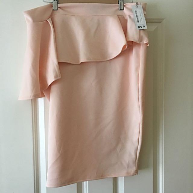Peach Assymetric Peplum Midi Skirt - Size 22-24 - Plus Size