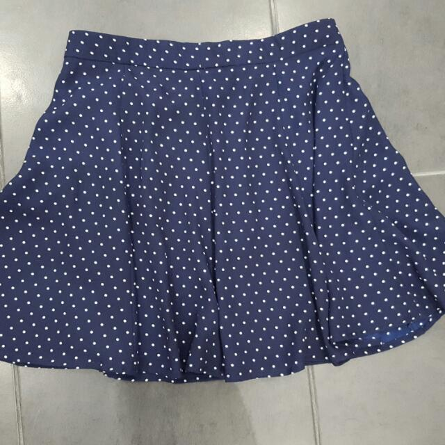 Poke A Dot Navy Blue And White Size Small Skirt
