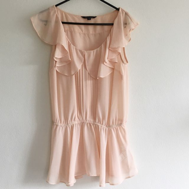 💜Portmans Soft Pink Frilly Chiffon Top Size 6