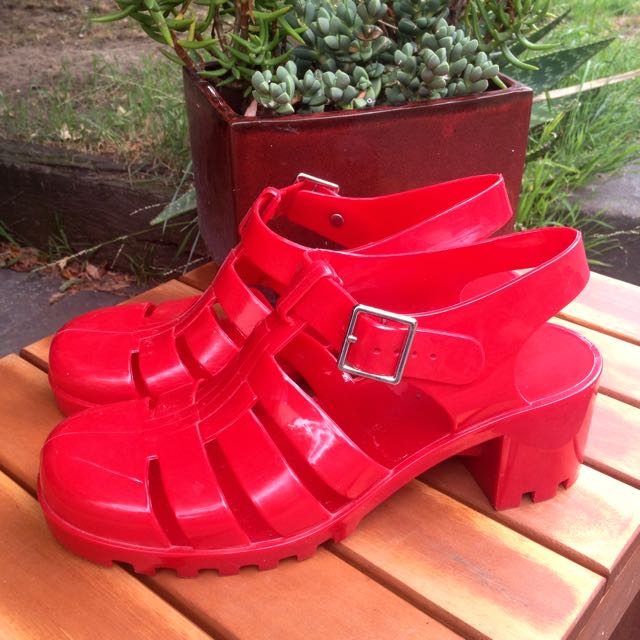 Red Jelly Sandal Heels