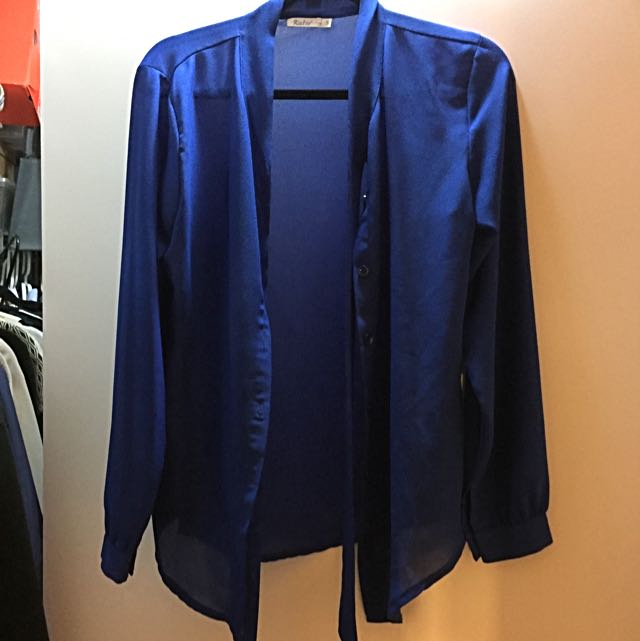 Royal Blue Chiffon Blouse