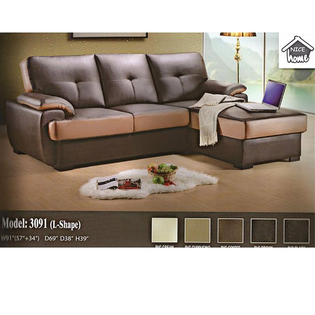 Set Ruang Tamu Mewah Dengan Sofa L Shape Pvc Model 3091 Home Furniture On Carou