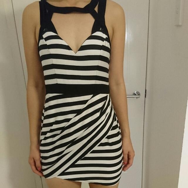 Striped Party Dress - Size 8