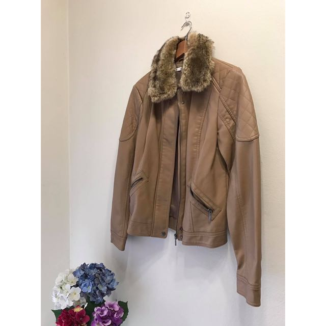 Tan Fur Coat Jacket