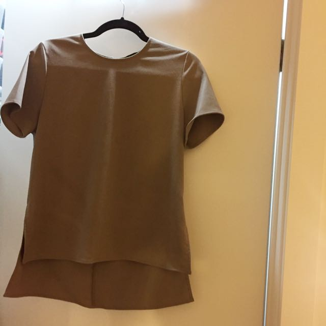 Taupe Shirt Sleeved Crepe Blouse
