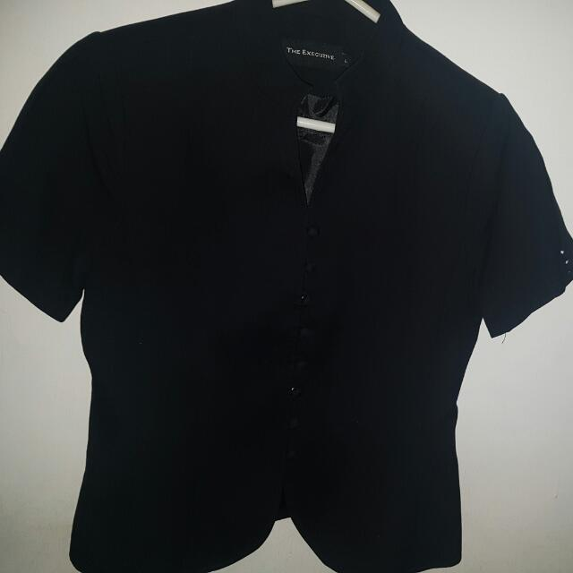 The Executive Black Formal Top