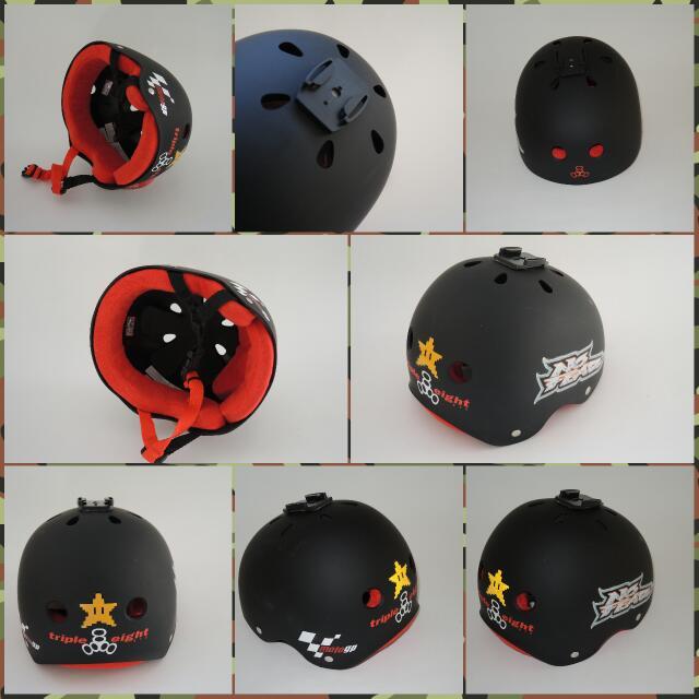 TRIPLE 8 Helmet With GO Pro Head Mount (MEDIUM)