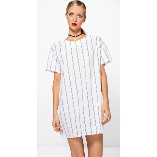 Vertical Stripe Shift Dress